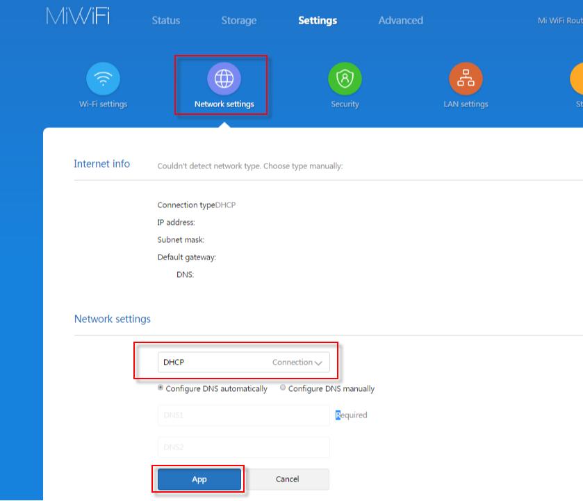 Тип подключения к интернету DHCP на Xiaomi mi WiFi 4A