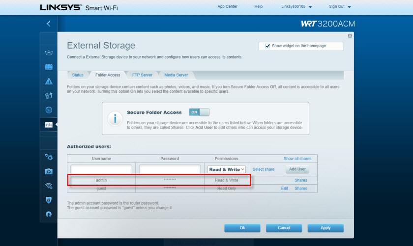 Доступ к сетевому диску через Linksys WRT3200ACM: настройка прав доступа