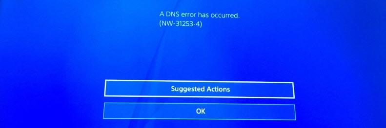 NW-31253-4 на PS4: произошла ошибка DNS