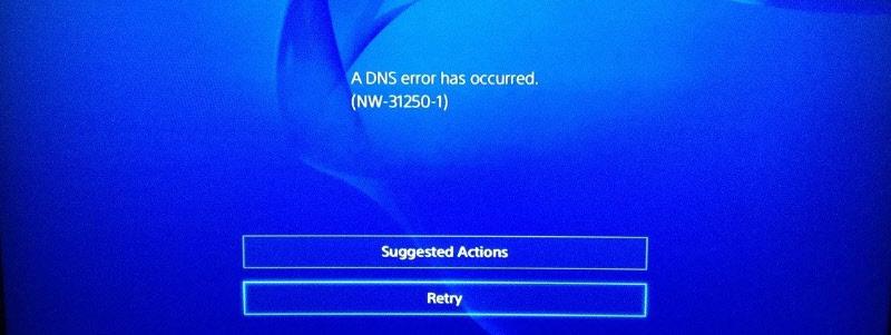 Ошибка DNS NW-31250-1 на PS4